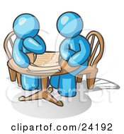Clipart Illustration Of Two Light Blue Businessmen Sitting At A Table Discussing Papers