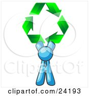 Clipart Illustration Of A Light Blue Man Holding Up Three Green Arrows Forming A Triangle And Moving In A Clockwise Motion Symbolizing Renewable Energy And Recycling