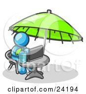Clipart Illustration Of A Traveling Light Blue Business Man Sitting Under An Umbrella At A Table Using A Laptop Computer