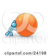 Clipart Illustration Of A Strong Light Blue Business Man Pushing An Orange Sphere
