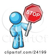 Clipart Illustration Of A Light Blue Man Holding A Red Stop Sign