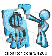 Clipart Illustration Of A Light Blue Businessman Putting A Dollar Sign Puzzle Together by Leo Blanchette