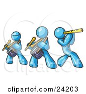 Clipart Illustration Of Three Light Blue Men Playing Flutes And Drums At A Music Concert
