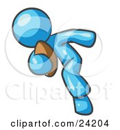 Clipart Illustration Of A Light Blue Man Running With A Football In Hand During A Game Or Practice