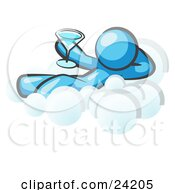 Clipart Illustration Of A Relaxed Light Blue Man Drinking A Martini And Kicking Back On Cloud Nine