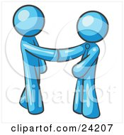 Poster, Art Print Of Light Blue Man Wearing A Tie Shaking Hands With Another Upon Agreement Of A Business Deal