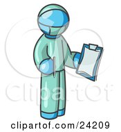 Light Blue Surgeon Man In Green Scrubs Holding A Pen And Clipboard