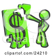 Clipart Illustration Of A Lime Green Businessman Putting A Dollar Sign Puzzle Together by Leo Blanchette