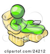 Clipart Illustration Of A Chubby And Lazy Lime Green Man With A Beer Belly Sitting In A Recliner Chair With His Feet Up
