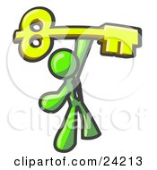 Lime Green Businessman Holding A Large Golden Skeleton Key Symbolizing Success