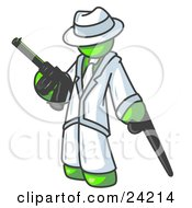Clipart Illustration Of A Lime Green Gangster Man Carrying A Gun And Leaning On A Cane
