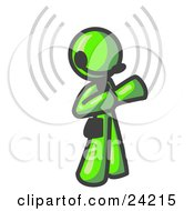 Clipart Illustration Of A Lime Green Customer Service Representative Taking A Call With A Headset In A Call Center
