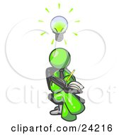 Smart Lime Green Man Seated With His Legs Crossed Brainstorming And Writing Ideas Down In A Notebook Lightbulb Over His Head