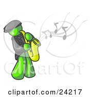 Clipart Illustration Of A Musical Lime Green Man Playing Jazz With A Saxophone