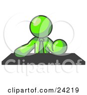 Clipart Illustration Of A Lime Green Businessman Seated At A Desk During A Meeting