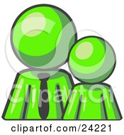 Clipart Illustration Of A Lime Green Child Or Employee Standing Beside A Bigger Blue Businessman Symbolizing Management Parenting Or Mentorship