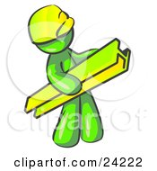 Clipart Illustration Of A Lime Green Man Construction Worker Wearing A Hardhat And Carrying A Beam At A Work Site