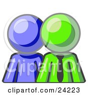 Clipart Illustration Of A Blue Person Standing Beside A Lime Green Businessman Symbolizing Teamwork Or Mentoring
