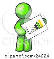 Clipart Illustration Of A Lime Green Man Holding A Bar Graph Displaying An Increase In Profit by Leo Blanchette