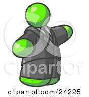 Clipart Illustration Of A Big Lime Green Business Man In A Suit And Tie