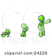 Clipart Illustration Of A Lime Green Man In His Growth Stages Of Life As A Baby Child And Adult