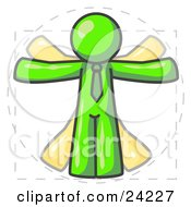 Clipart Illustration Of A Man In Motion Lime Green Vitruvian Cartoon Man by Leo Blanchette