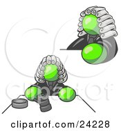 Clipart Illustration Of A Lime Green Judge Man Wearing A Wig In Court