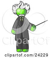 Clipart Illustration Of A Lime Green Man Depicted As Albert Einstein Holding A Pointer Stick