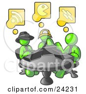 Clipart Illustration Of Three Lime Green Men Using Laptops In An Internet Cafe