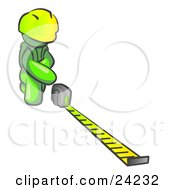Clipart Illustration Of A Lime Green Man Contractor Wearing A Hardhat Kneeling And Measuring by Leo Blanchette