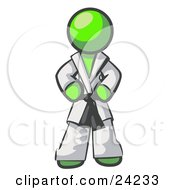 Clipart Illustration Of A Tough Lime Green Man In A White Karate Suit And A Black Belt Standing With His Hands On His Hips