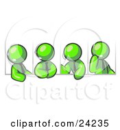 Clipart Illustration Of Four Different Lime Green Men Wearing Headsets And Having A Discussion During A Phone Meeting