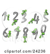 Lime Green Men With Numbers 0 Through 9