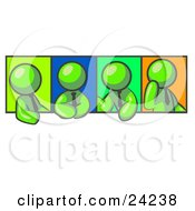 Four Lime Green Men In Different Poses Against Colorful Backgrounds Perhaps During A Meeting