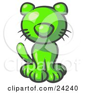 Clipart Illustration Of A Cute Lime Green Kitty Cat Looking Curiously At The Viewer by Leo Blanchette
