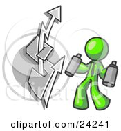 Clipart Illustration Of A Lime Green Business Man Spray Painting A Graffiti Dollar Sign On A Wall by Leo Blanchette