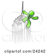 Clipart Illustration Of A Lime Green Man Climbing To The Top Of A Skyscraper Tower Like King Kong Success Achievement
