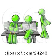 Clipart Illustration Of Lime Green Men At A Bench At A Bus Stop