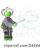 Clipart Illustration Of A Lime Green Einstein Man Pointing A Stick At A Presentation Of A Flying Saucer by Leo Blanchette