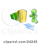 Clipart Illustration Of A Lime Green Man Standing By An Increasing Green Yellow And Orange Bar Graph On A Grid Background With An Arrow