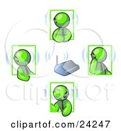 Group Of Four Lime Green Men Holding A Phone Meeting And Wearing Wireless Bluetooth Headsets