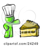 Clipart Illustration Of A Lime Green Chef Man Wearing A White Hat And Presenting A Tasty Slice Of Chocolate Frosted Cake