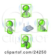 Green Men Holding A Phone Meeting And Wearing Wireless Headsets