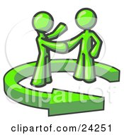 Clipart Illustration Of A Lime Green Salesman Shaking Hands With A Client While Making A Deal