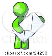 Clipart Illustration Of A Lime Green Person Standing And Holding A Large Envelope Symbolizing Communications And Email by Leo Blanchette