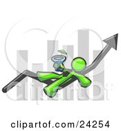 Clipart Illustration Of A Lime Green Business Owner Man Relaxing On An Increase Bar And Drinking Finally Taking A Break by Leo Blanchette