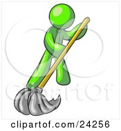 Clipart Illustration Of A Lime Green Man Wearing A Tie Using A Mop While Mopping A Hard Floor To Clean Up A Mess Or Spill