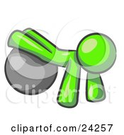 Clipart Illustration Of A Lime Green Man Strength Training His Arms And Legs While Using A Yoga Exercise Ball
