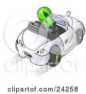 Clipart Illustration Of A Lime Green Businessman Talking On A Cell Phone While Driving In A White Convertible Car