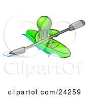 Lime Green Man Paddling Down A River In A Green Kayak
